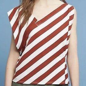 Anthropologie Asymmetrical Striped Blouse